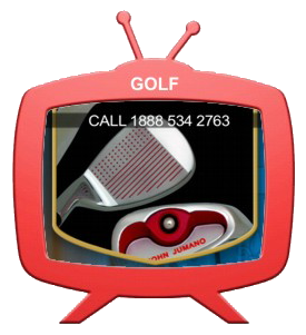 TV showing golf clubs